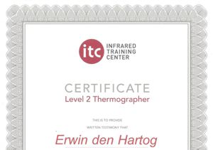 Energiekeurplus is ITC Level 2 en Level 3 gecertificeerd in thermografie