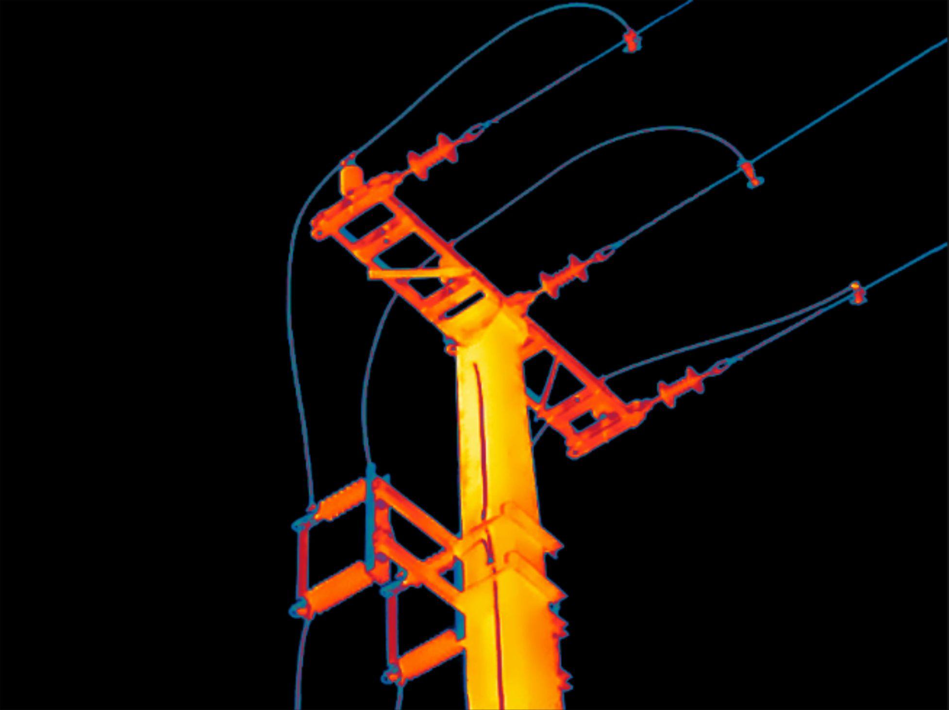 Elektrische thermografie bij een hoogspanningsleiding
