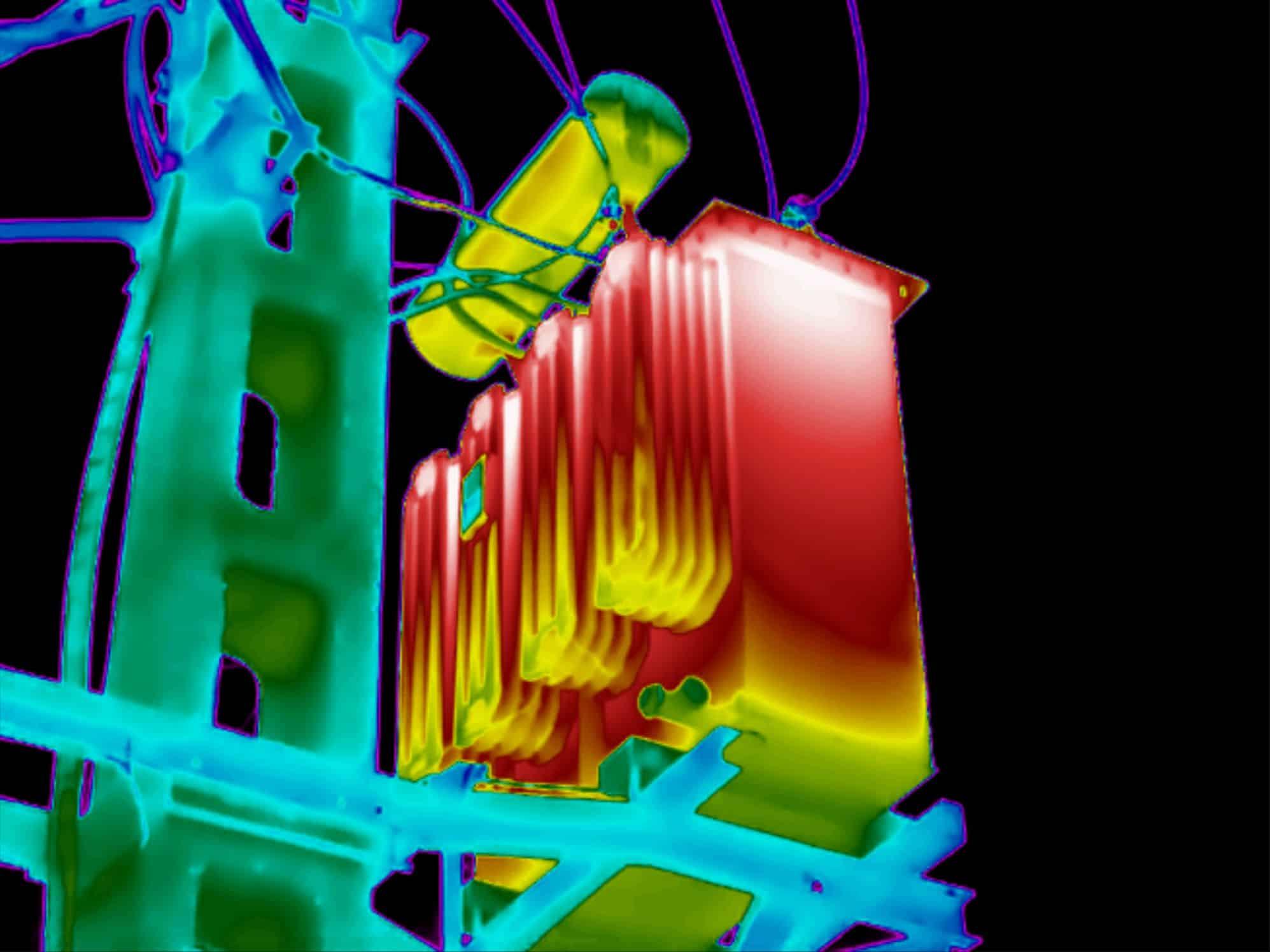 Thermografie bij een oliegekoelde transformator