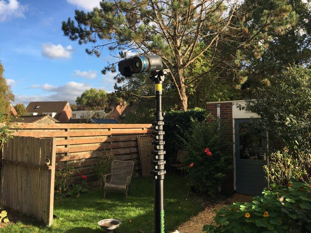 Energiekeurplus maakt gebruik van een thermografie mast bij thermografie bij zonnepanelen