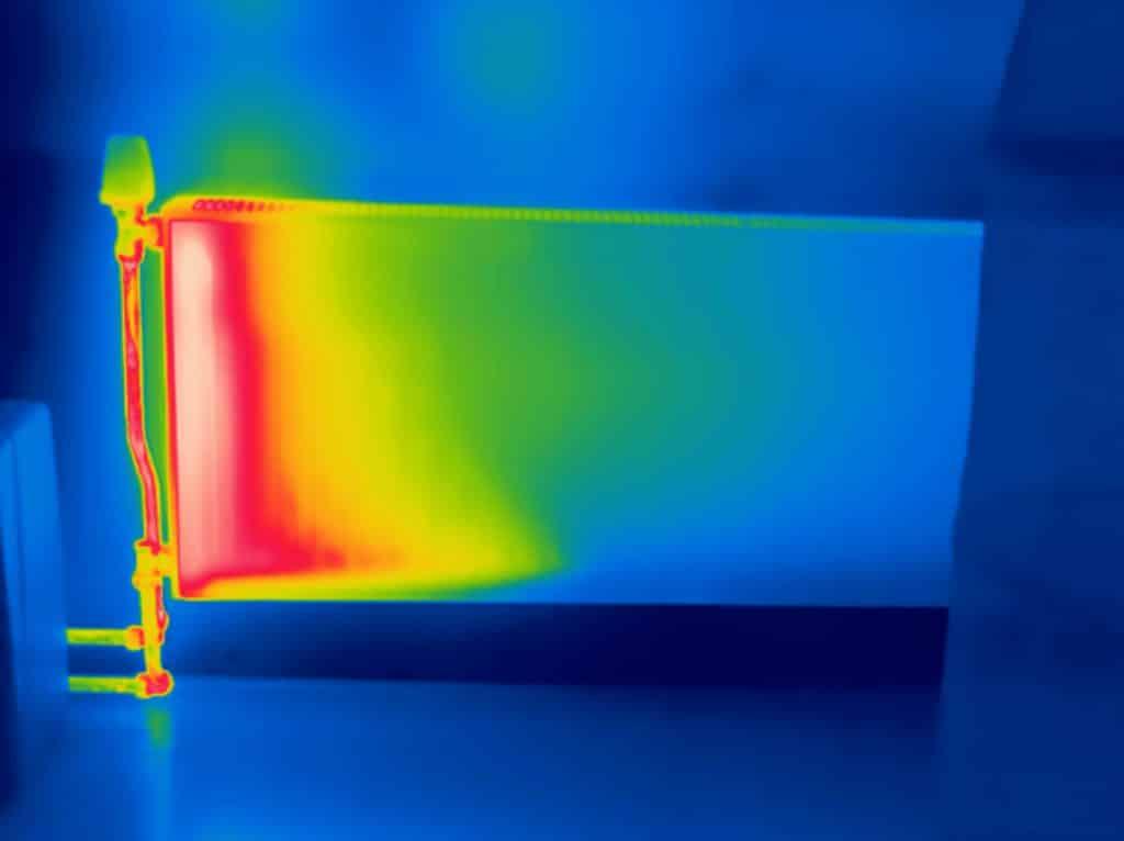 Thermografie toont slecht functionerende verwamingsradiator