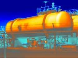 Een tankniveau meting is één van de toepassingen van thermografie